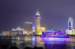 Картинка Китай Шанхай Здания Речные суда Ночь город