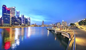 Обои Сингапур Вечер Набережная