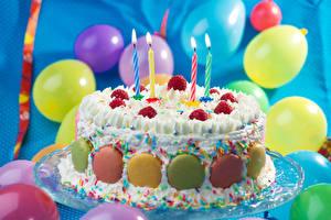 Картинка Праздники Сладкая еда Торты Свечи Шар Продукты питания