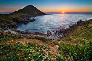 Обои Франция Побережье Рассветы и закаты Пейзаж Бухта Mediterraneo Природа фото