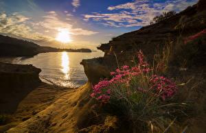 Обои Испания Пейзаж Рассветы и закаты Побережье Небо Природа фото