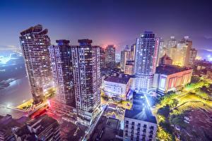 Фотографии Китай Дома Небоскребы Ночные Сверху Chongqing Города