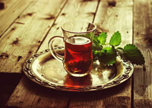 Картинки Напитки Чай Стакан Листва Еда