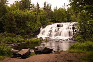 Фото США Леса Водопады Камни Bond Falls Ontonagon River Природа