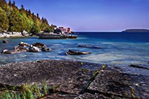 Обои Канада Побережье Tobermory Ontario Природа фото