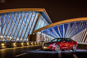 Обои Кадиллак Темно красный Металлик 2015 Cadillac ATS-L Автомобили