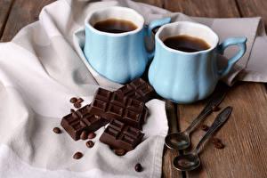 Фотография Напиток Кофе Шоколад Чашке Двое Ложка Зерно Пища