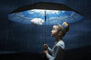 Фото Дождь Девочка Зонтик Облака ребёнок
