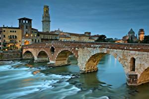 Обои Италия Мосты Вечер Речка Верона