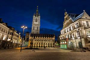 Обои Бельгия Дома Гент Улица Ночь Уличные фонари Городская площадь Belfry square Города фото