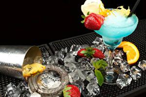 Картинки Напитки Коктейль Клубника Лед Еда