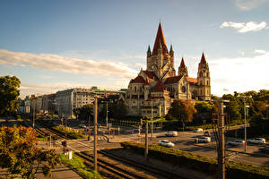 Фото Австрия Здания Храмы Дороги Вена Церковь Улица