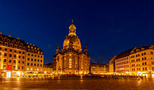 Фотографии Дрезден Германия Дома Храм Улица В ночи Уличные фонари Города