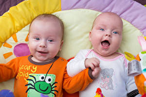 Фотография Младенец Двое Улыбка Смеются Дети