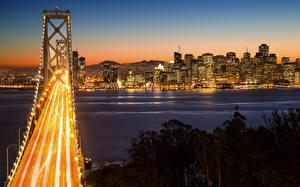 Фотографии Мосты США Ночь Сан-Франциско Bay Bridge