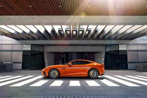 Обои Ягуар Сбоку Оранжевый F-Type Coupe Автомобили
