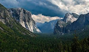 Обои Пейзаж Горы Леса США Скала Йосемити Природа фото