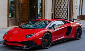 Картинка Lamborghini Красный Aventador LP700-4 Автомобили