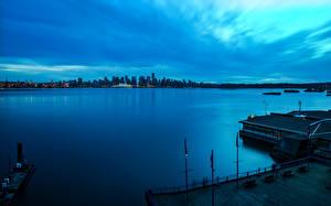 Картинки Канада Реки Пристань Ванкувер Ночные Города