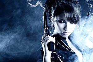 Фотографии Пистолеты Дым Взгляд Армия