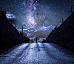 Картинки Дороги Звезды Небо В ночи Силуэт Фантастика