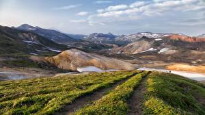 Фото Россия Пейзаж Горы Камчатка Трава Природа
