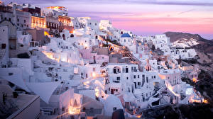Обои Греция Дома Thira Aegean Города фото