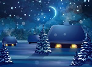 Фото Зимние Дома Векторная графика Ель Ночь Природа