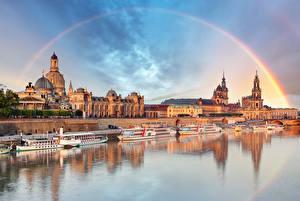 Фотографии Дрезден ФРГ Реки Здания Причалы Корабли Радуга Elbe River Города