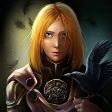 Обои Dragon Age Вороны Рыжая Взгляд Leliana Игры Фэнтези Девушки