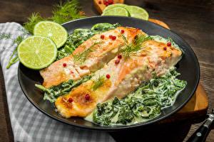 Картинка Морепродукты Рыба Лайм Тарелка Продукты питания