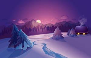 Фотографии Векторная графика Рассветы и закаты Пейзаж Зима Снег Ель Природа
