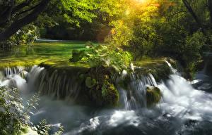 Обои Водопады Хорватия Реки Парки Plitvice Lakes Природа фото