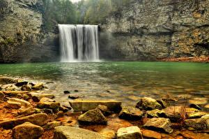 Обои Камни Водопады Реки Скала Природа фото