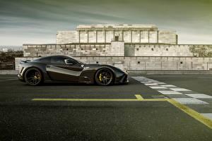 Обои Ferrari Сбоку Черный Novitec Rosso F12berlinetta Автомобили