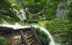 Обои Водопады Реки Хорватия Парки Plitvice Lakes Природа фото