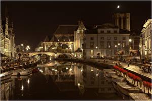 Фотографии Бельгия Здания Мосты Гент Водный канал Ночь город
