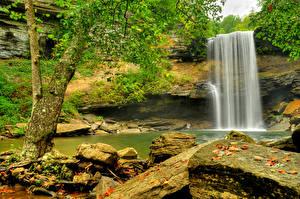 Обои Водопады Реки Скала Природа фото