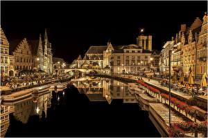 Фотографии Бельгия Дома Гент Водный канал Ночные город