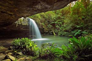 Обои Водопады Скала Природа фото