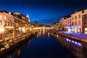 Фотография Бельгия Дома Гент Водный канал Ночь Города
