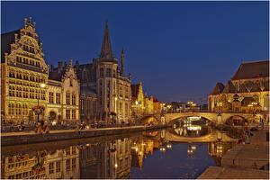 Картинка Бельгия Дома Мосты Гент Водный канал Ночь город