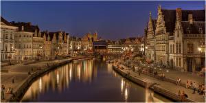 Фотография Бельгия Здания Гент Водный канал Ночные Города