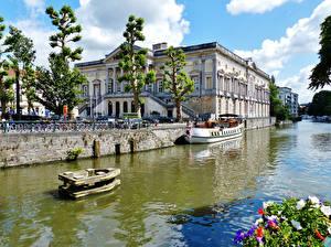 Фото Бельгия Здания Гент Водный канал город