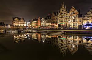 Фото Бельгия Здания Гент В ночи Города