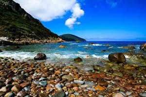 Обои Франция Побережье Море Горы Камни Corsica Природа фото