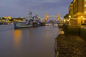 Обои Побережье Англия Корабли Вечер Реки Лондон Города фото