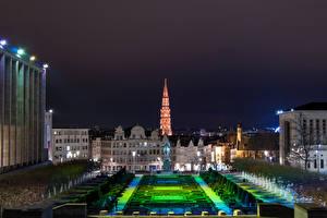 Фотография Бельгия Дома Парки Памятники Ночь Brussels Города