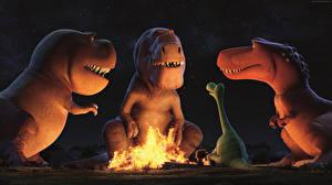 Картинки Хороший динозавр Динозавры Трое 3 Костром Мультфильмы