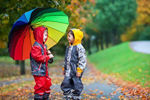 Фотография Мальчик Вдвоем Зонт Куртке Дети